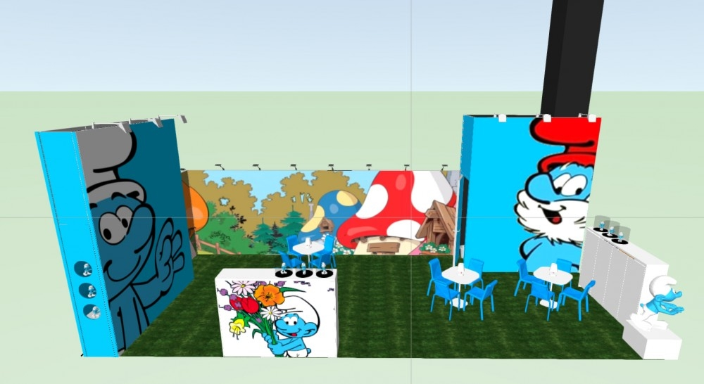 London- Brand licencing smurf - conceptexpo - stand construction - stand opbouwing