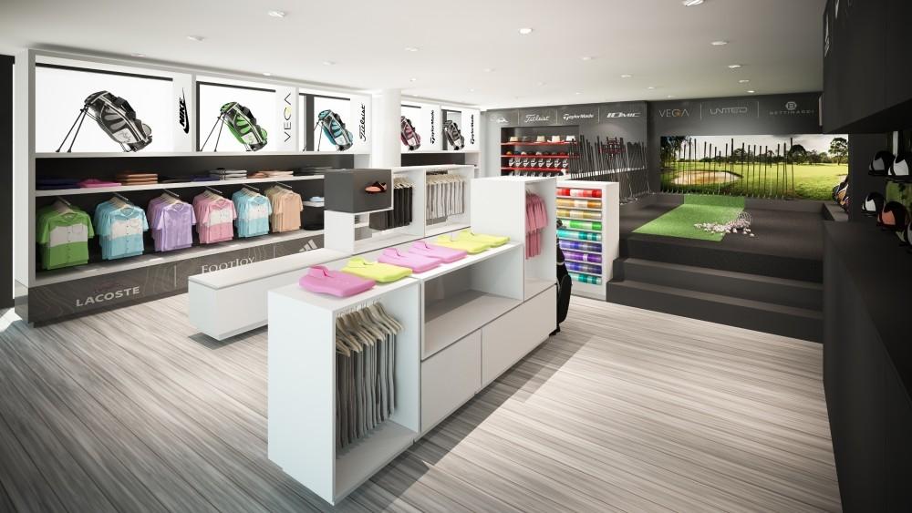 aménagement de magasin, proshop, golf de  l'empereur
